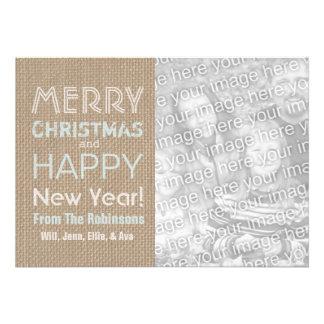Blue White Burlap Inspired Photo Christmas Card