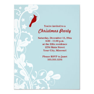 Blue White Cardinal Christmas Party Invitations