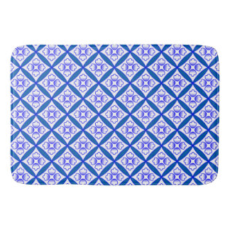 Blue, White Cathedral Windows Patchwork Inspired Bathroom Mat