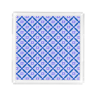 Blue, White Cathedral Windows Patchwork Inspired Serving Tray