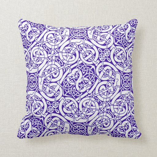 Blue & White Celtic Knot Design Throw Pillow