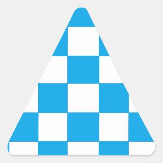 blue/white checkers triangle sticker