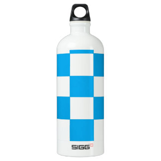 blue/white checkers water bottle