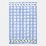 Blue White Checks Pattern Bluebirds-Kitchen Towel
