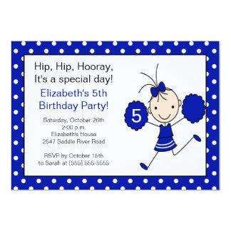 "Blue & White Cheerleader Cheer Birthday Invitation 5"" X 7"" Invitation Card"