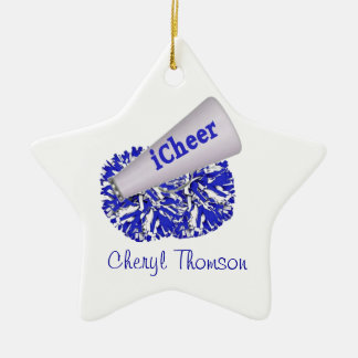 Blue & White Cheerleader ornament