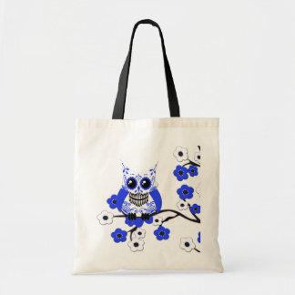 Blue White Cherry Blossoms Owl Bag