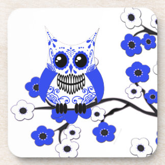 Blue White Cherry Blossoms Owl Cork Coaster