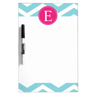 Blue White Chevron Bright Pink Monogram Dry-Erase Board