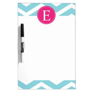 Blue White Chevron Bright Pink Monogram Dry-Erase Board