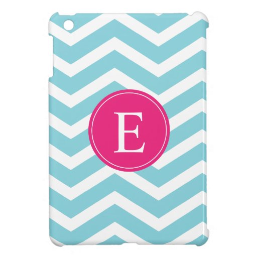 Blue White Chevron Bright Pink Monogram iPad Mini Cases