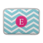 Blue White Chevron Bright Pink Monogram MacBook Sleeves
