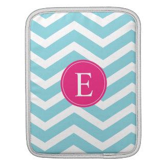 Blue White Chevron Bright Pink Monogram iPad Sleeve