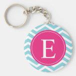 Blue White Chevron Bright Pink Monogram Key Chains