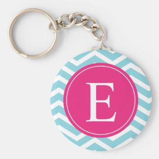 Blue White Chevron Bright Pink Monogram Keychain