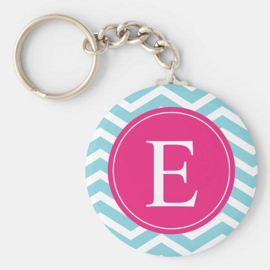 Blue White Chevron Bright Pink Monogram Keychain