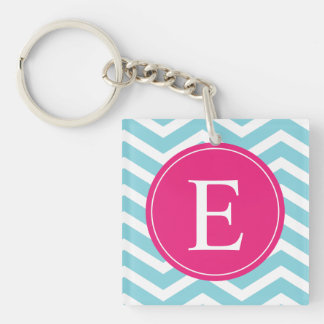 Blue White Chevron Bright Pink Monogram Square Acrylic Keychain