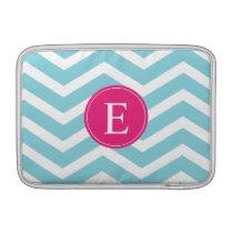 Blue White Chevron Bright Pink Monogram MacBook Sleeve