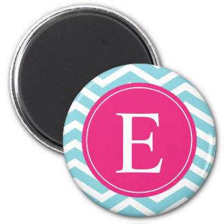 Blue White Chevron Bright Pink Monogram Magnet