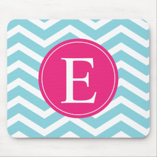 Blue White Chevron Bright Pink Monogram Mouse Pad