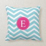 Blue White Chevron Bright Pink Monogram Throw Pillows