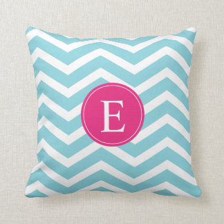 Blue White Chevron Bright Pink Monogram Throw Pillow