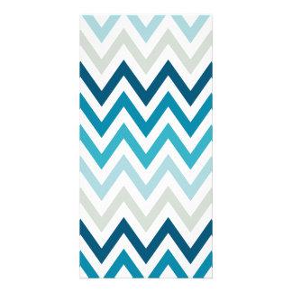 Blue White Chevron Geometric Designs Color Card