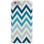 Blue White Chevron Geometric Designs Color Barely There iPhone 6 Plus Case