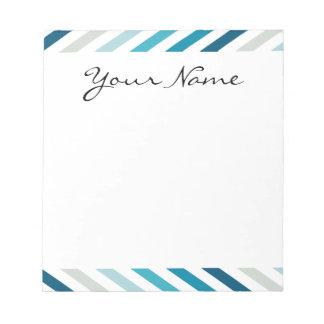 Blue White Chevron Geometric Designs Color Notepad