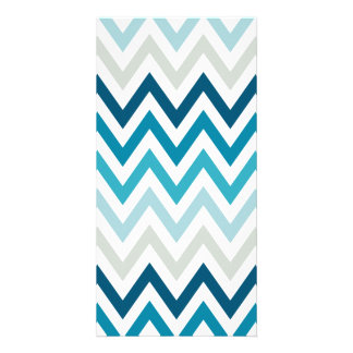 Blue White Chevron Geometric Designs Color Customized Photo Card