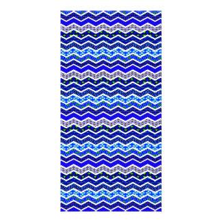 Blue White Chevron Geometric Designs Color Personalized Photo Card