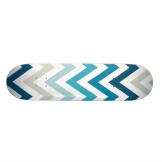 Blue White Chevron Geometric Designs Color Skateboard Deck