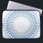 "Blue White Chevron Mandala Pattern Laptop Sleeve<br><div class=""desc"">blue white mandala geometric pattern digital graphic design pretty decorative zigzag chevron round circle concentric</div>"