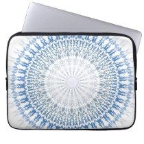 Blue White Chevron Mandala Pattern Laptop Sleeve