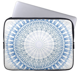 Blue White Chevron Mandala Pattern Laptop Sleeve