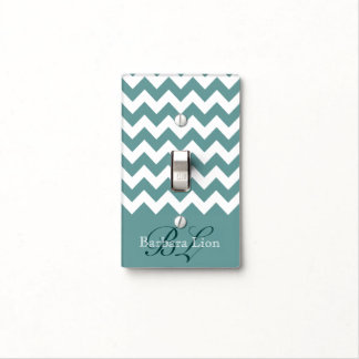 blue white chevron name switch plate covers