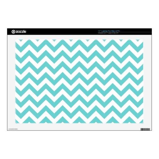 "Blue White Chevron Pattern Decal For 17"" Laptop"