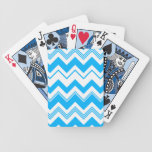 Blue White Chevron Pattern Deck Of Cards