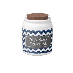Blue White Chevron Pattern Dog Treat Jar Candy Jars at Zazzle