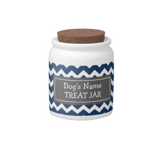 Blue White Chevron Pattern Dog Treat Jar Candy Jars
