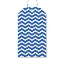 Blue White Chevron Pattern Gift Tags