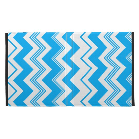 Blue White Chevron Pattern iPad Folio Cover