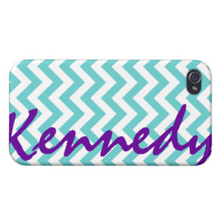 Blue White Chevron Pattern iPhone 4/4S Cover