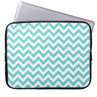 Blue White Chevron Pattern Laptop Sleeve
