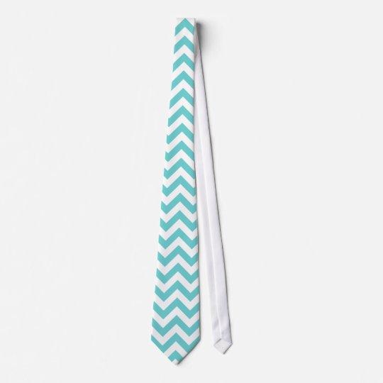 Blue White Chevron Pattern Tie