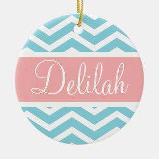 Blue White Chevron Peach Pink Name Ceramic Ornament