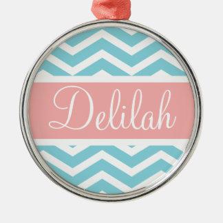 Blue White Chevron Peach Pink Name Metal Ornament