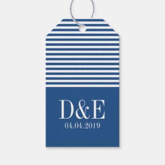 Blue white chevron stripe wedding favor gift tags