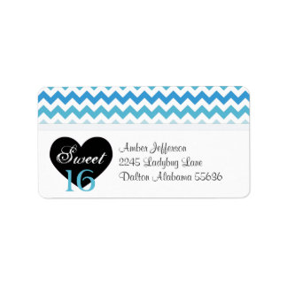 Blue & White Chevron Sweet 16 Party Address Labels