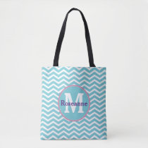 Blue White Chevron with Monogram and Name Tote Bag